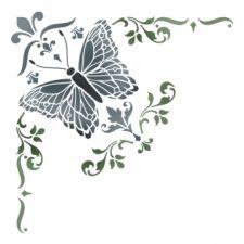 Трафарет Угол с бабочкой и античной лилией