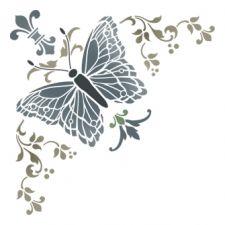 Трафарет Угол с бабочкой и античной лилией 2