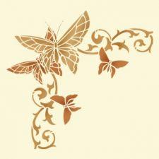 Трафарет Угол с бабочками 3